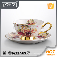 Royal multa de hueso china reutilizable taza de café personalizado y platillo